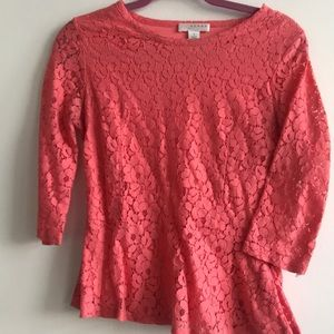 Coral lace 3/4 sleeve peplum blouse